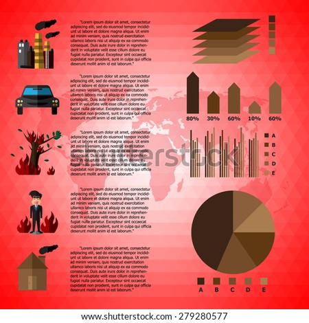 Cause Of Global Warming Infographics. Vector Illustration - stock vector