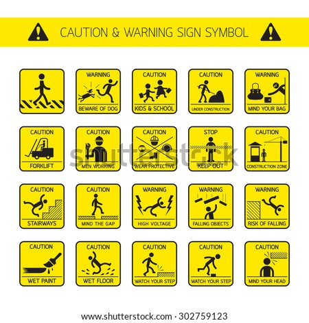 Caution and Warning Signs in Public and Construction Zone, Danger, Hazard Symbol Set - stock vector