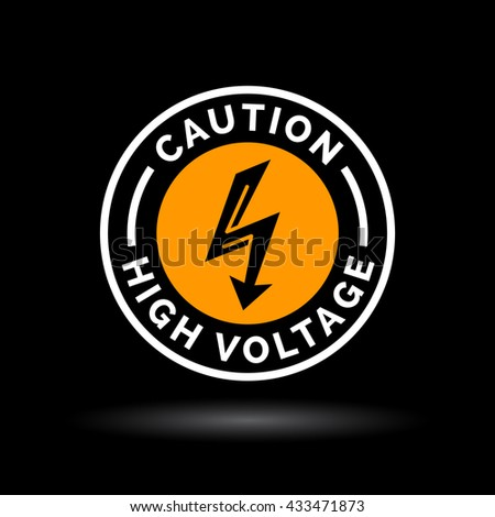 Caution high voltage sign with electrical arrow icon. Orange sign on black background. Vector illustration. - stock vector