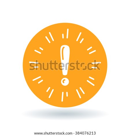 Caution icon. Warning sign. Exclamation symbol. White exclamation mark icon on orange circle background. Vector illustration. - stock vector