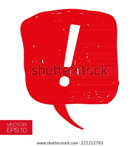 Caution sign with red speech bubble and white exclamation mark on a white background. Vector illustration in casual style for web design, articles, books and magazines - stock vector