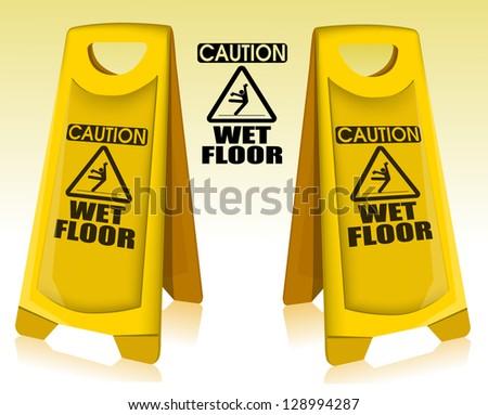 Caution wet floor eps10 - stock vector
