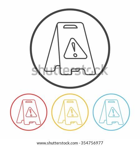 caution wet floor line icon - stock vector