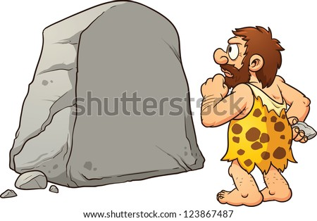 Caveman looking at a large rock and thinking. Vector clip art illustration with simple gradients. Rock and caveman on separate layers for easy editing. - stock vector