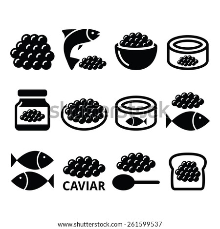 Caviar, roe, fish eggs icons set  - stock vector