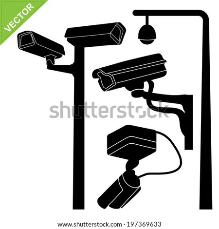 CCTV camera silhouettes vector  - stock vector