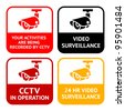 CCTV set pictogram, video surveillance, set symbol security camera - stock vector