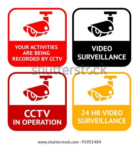 CCTV set pictogram, video surveillance, set symbol security camera - stock vector