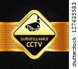 Cctv symbol on a metallic perforated background,  vector illustration - stock vector
