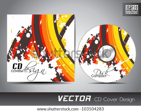 CD cover presentation design template with copy space and colorful wave on grunge effect, editable EPS10. Vector illustration. - stock vector