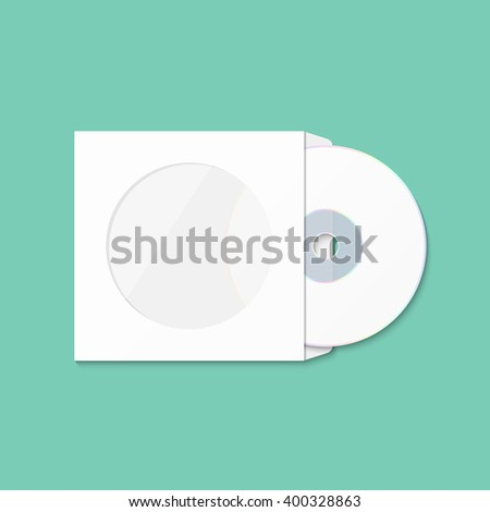 CD cover template DWD. Box for CD. Insulated packaging for discs. DWD Envelope. Vector CD box. Box CD DWD isolated on green - stock vector