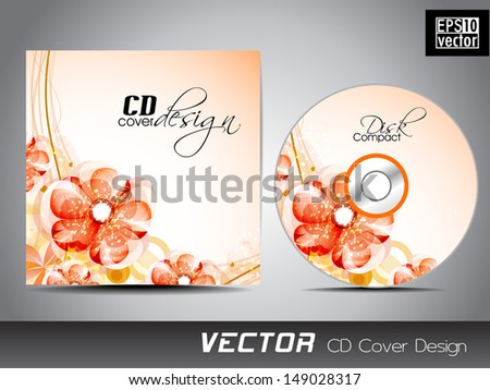 CD cover with floral designs for your business.  - stock vector