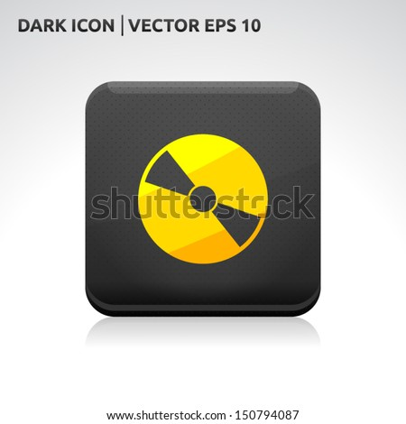 CD DVD icon | color dark black gold yellow | icon set | abstract vector symbol | template design | shadows shiny | business button | abstract 3d - stock vector