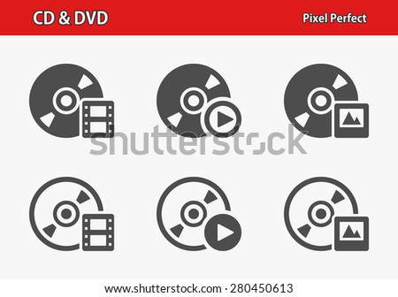 CD & DVD Icons. Professional, pixel perfect icons optimized for both large and small resolutions. EPS 8 format. - stock vector