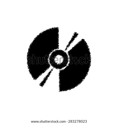 CD or DVD  - black vector icon - stock vector