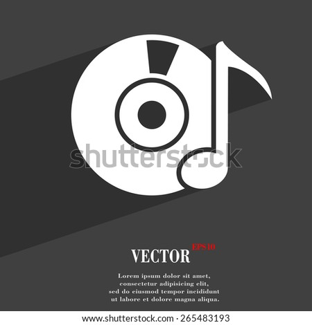 CD or DVD  icon symbol Flat modern web design with long shadow and space for your text. Vector illustration - stock vector