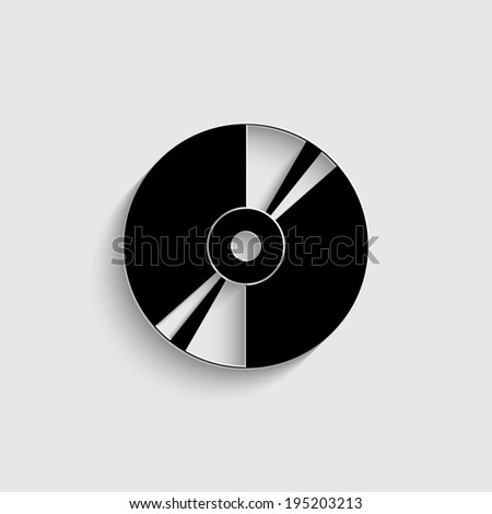 CD or DVD icons with shadow on a grey background - stock vector