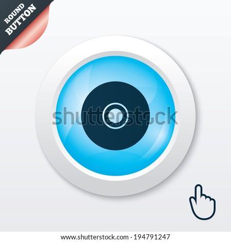 CD or DVD sign icon. Compact disc symbol. Blue shiny button. Modern UI website button with hand cursor pointer. Vector - stock vector