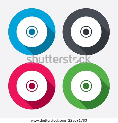 CD or DVD sign icon. Compact disc symbol. Circle buttons with long shadow. 4 icons set. Vector - stock vector