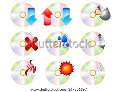 CD ROM Icon set on a white background - stock vector