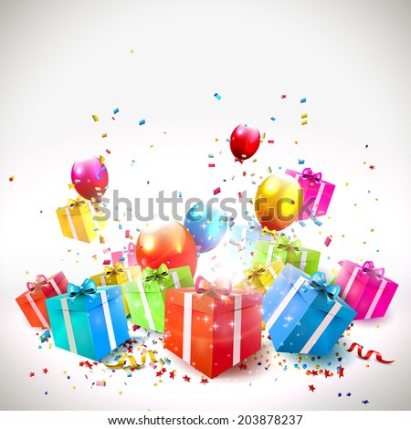 Celebrate background with gift boxes, confetti and balloons  - stock vector