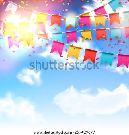 Celebrate banner. Party flags with confetti over blue sky. Vector illustration.  - stock vector