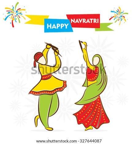 celebrate navratri festival with dancing garba design vector  - stock vector