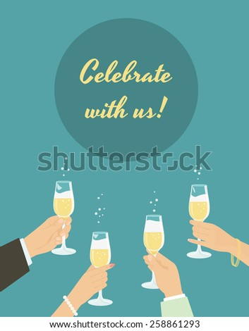 Celebrating poster with group of people toasting with champagne - stock vector