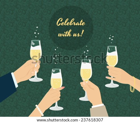 Celebrating poster with group of people toasting with champagne. Background with seamless pattern - stock vector