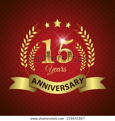 Celebrating 14 Years Anniversary - Golden Laurel Wreath Seal with Golden Ribbon - Layered EPS 10 Vector - stock vector