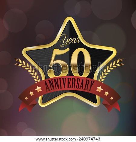 Celebrating 50 Years Anniversary - Golden Star with Laurel Wreath Seal with Red Golden - Layered EPS 10 Vector. - stock vector