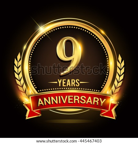 Celebrating 9 years anniversary logo with golden ring and red ribbon. - stock vector