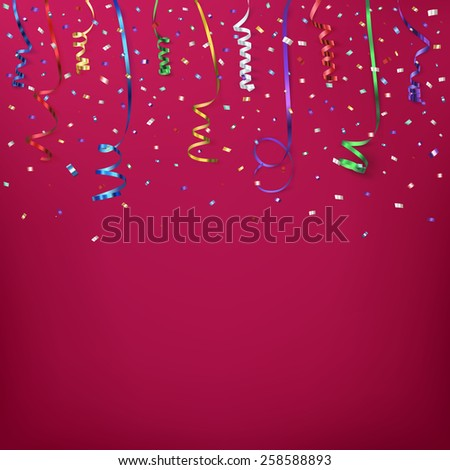 Celebration background template with stairs, konfetti and colorful ribbons. Vector illustration  - stock vector