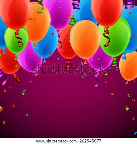 Celebration colorful background with balloons and confetti. Vector illustration.  - stock vector