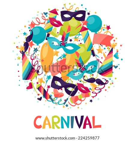 Celebration festive background with carnival icons and objects. - stock vector