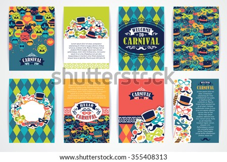 Celebration festive background with carnival icons and objects. Vector Design Templates Collection for Banners, Flyers, Placards, Posters and other use. - stock vector