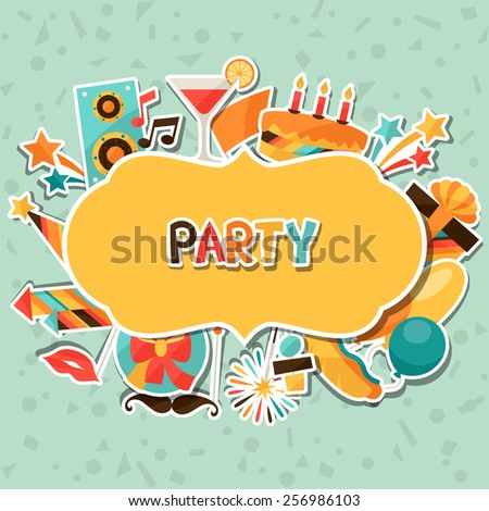 Celebration festive background with party sticker icons and objects. - stock vector
