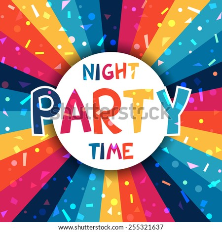 Celebration festive party poster with shiny confetti. - stock vector