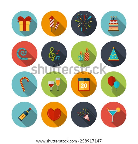 Celebration icons set with cocktail confetti fireworks cake balloons isolated vector illustration - stock vector
