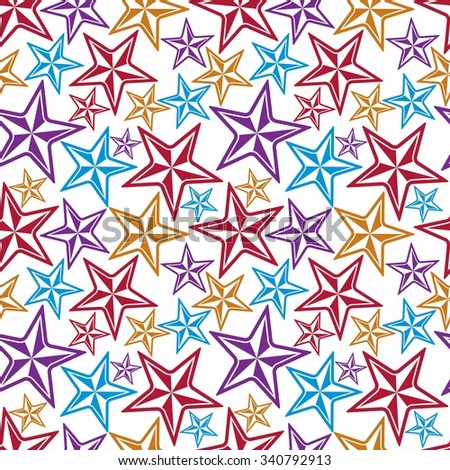 Celebration idea vector background, beautiful stars. Seamless background with festive stars, for use in decorating, graphic design and as wallpapers. - stock vector