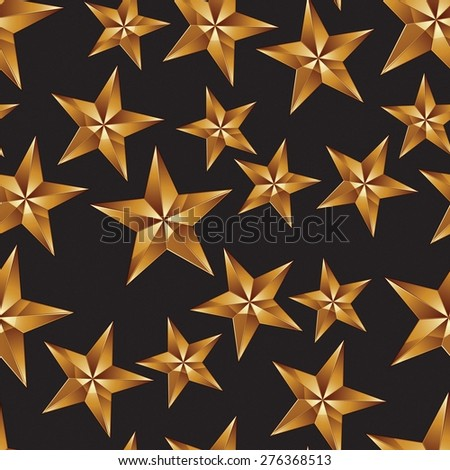 Celebration idea vector background, pentagonal golden stars. Seamless background with festive stars, for use in decorating, graphic design and as wallpapers. - stock vector