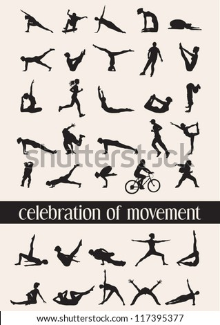 Celebration of movement in 35 human silhouettes in various moves - stock vector