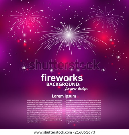 Celebratory fireworks on a purple background. Card. Vector illustration. - stock vector