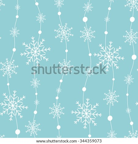 Celebratory pattern with snowflakes hanging on strings. - stock vector