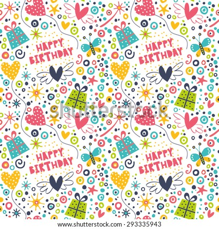 Celebratory seamless pattern with gifts, balloons, confetti, hearts. - stock vector