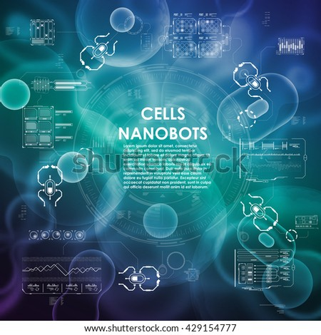 Cell background with interface elements. HUD UI for medical app. Futuristic user interface. Molecular research. Nanotechnology medicine concept. Nanorobots. - stock vector
