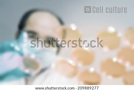 Cell culture blurred vector background. Male scientist in protective wear cultures human or animal cells - stock vector
