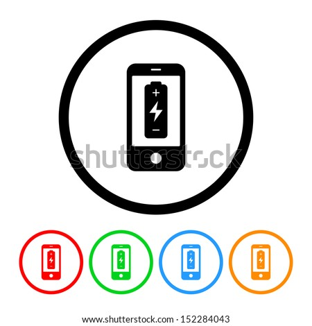 Cell Phone Battery Icon - stock vector