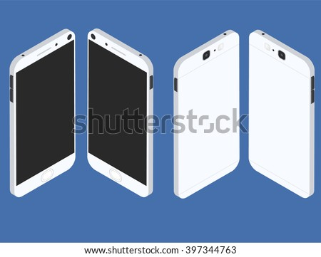 Cell phone. Flat isometric. Mobile device. Modern technologies of communication. Communication and management. White smartphone. Touchscreen display. Vector illustration. - stock vector