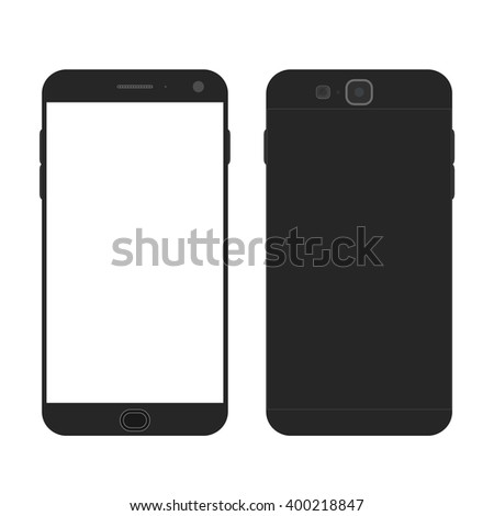 Cell phone. Flat style. Mobile device. Modern technologies of communication. Communication and management. Black smartphone. Touchscreen display. Vector illustration. - stock vector